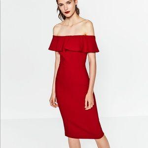 Off the shoulder elegant red midi dress